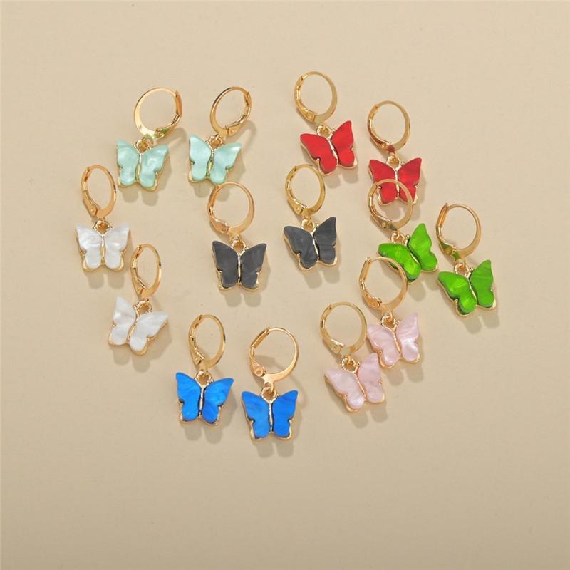 البوهيمي الأقراط للأزياء النساء ملون الأذن أكريليك الفراشة مسمار أقراط الحيوان الحلو مسمار بنات مجوهرات