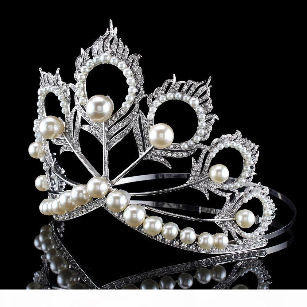 Neue Ankunfts-große Größe 2017 Miss Universe Same-Krone voll Runde Adjustable Silver Pearl Peakcock Feder Tiara Festzug S919