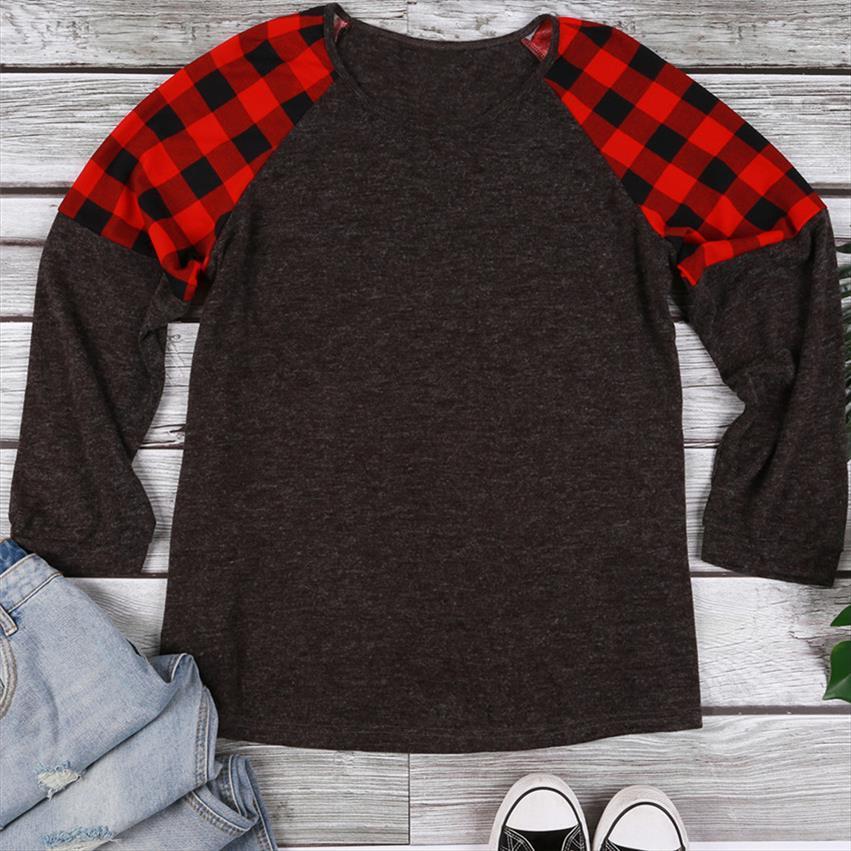 2020 Moda Tişörtlü Kadınlar Plus Size Ekose Ekleme O Yaka T Shirt Casual Gevşek Kadın Ç Boyun Gri Leydi Tee Tops