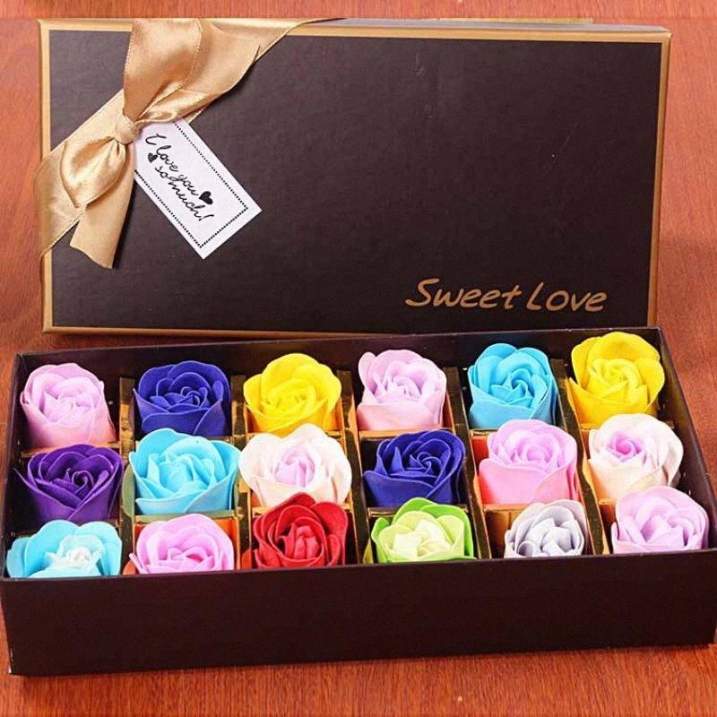 18pcs Verlaufsfarbe Günstige Soap Rose Kopf Schönheit Hochzeit Valentinstag Geschenk Hochzeit Bouquet Hauptdekoration Hand Blumen-Kunst GA2e #