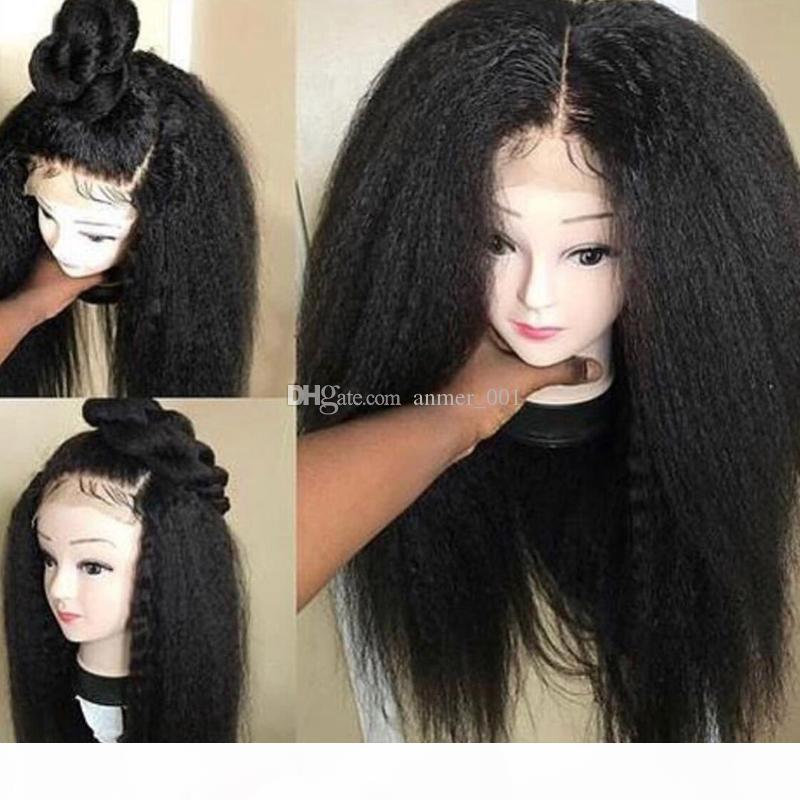 10A Grad Die beste Qualität volle Spitzeperücke Brasilianische jungfräuliche menschliche Haare verworrene gerade Glühen Spitzefrontperücken für schwarze Frau