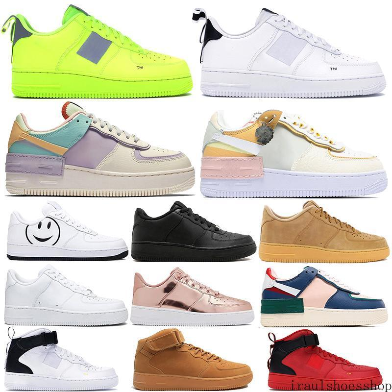 Kuvvetler erkekler kadınlar Günlük Ayakkabılar 1 1s orta yarar siyah beyaz gölge ladin aura Tropikal Büküm Eğitmen Düşük Kesim Dunnk bir kaykay ira