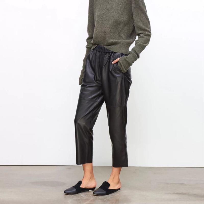 Calidad BF Viento Nuevo Pantalones de cuero de Caprine Caprine para mujer
