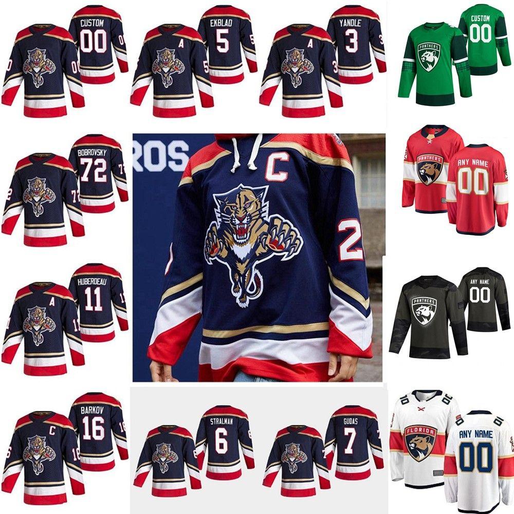 플로리다 팬더 2021 Reverse Retro Hockey Jerseys 72 Sergei Bobrovsky Aaron Ekblad Aleksander Barkov Jonathan Huberdeau 맞춤형 스티치