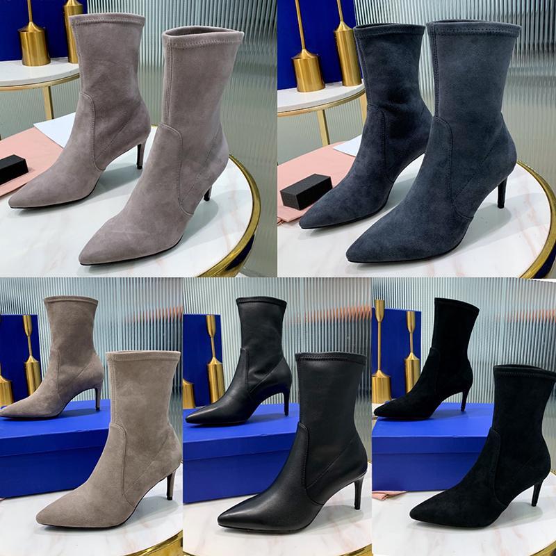 Womens altos Austrália Moda Inverno Saltos Botas Top couro genuíno Sexy Stiletto Heel Botas Pointy Toe Meia-perna Martin Botas