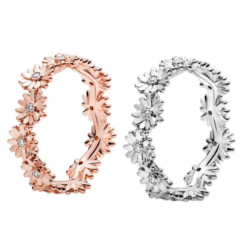 925 Sterling Silber Pandora Schmuck Gänseblümchen-Blume Zirkonia Eheringe in Rosengold Verlobungsringe für Frauen