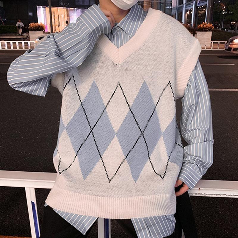 Maglia maglione uomo patchwork con scollo a V senza maniche maglioni di maglioni per la fessura laterale di stile preppy-style-slittatura dei ragazzi gilet retro alta qualità1