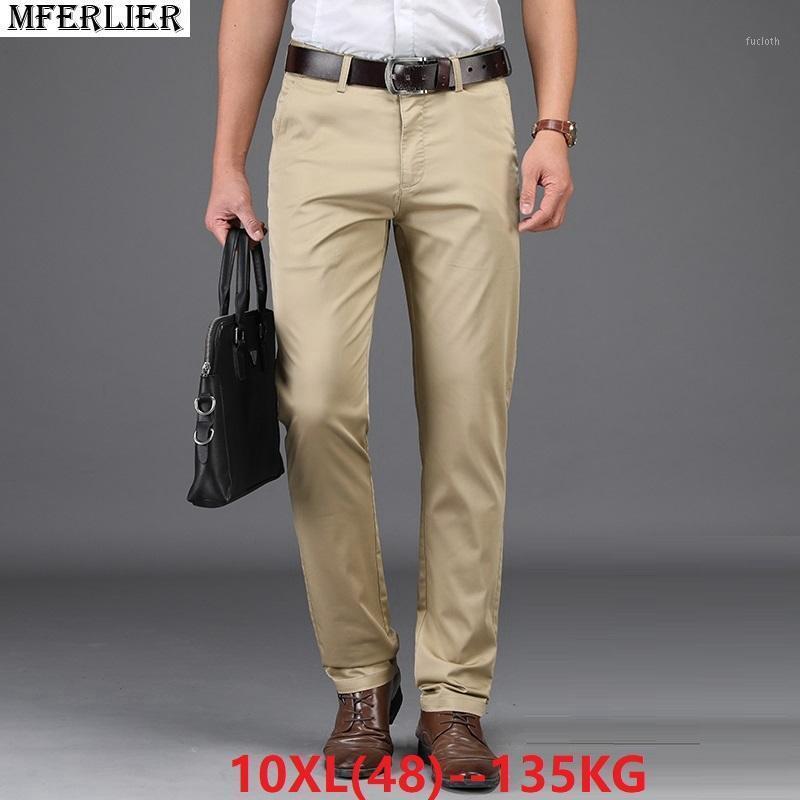 MFFERLIER Automne Hommes Smart Casual Pantalon Plus Taille Big 7xl 8xl 9xL Pantalon 10XL 44 46 48 Élasticité Pantalon Stretch Direct Khaki1