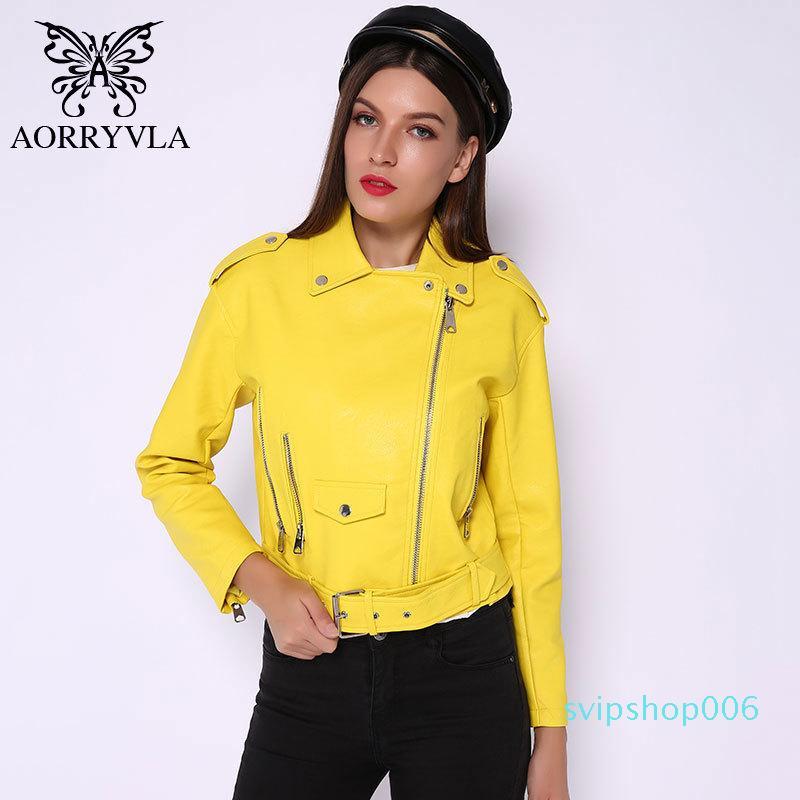 Aorryvla Faux Deri Moto Kadın Deri Ceketler Sarı Bayanlar Deri Ceketimmetrik Faux-Deri Ceket Bahar 2020 LJ201126