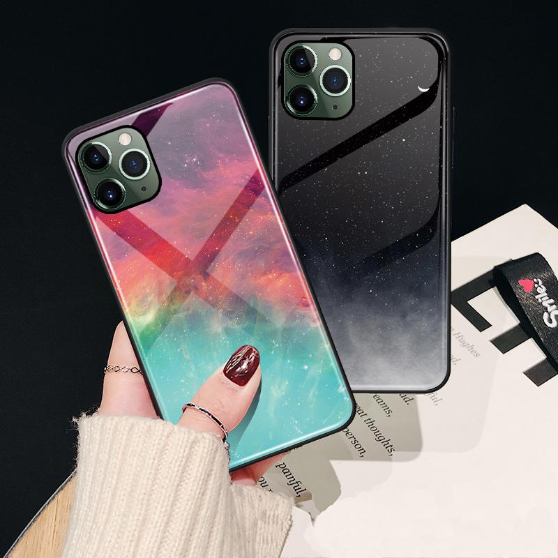 Factory Price Tempered Glass Phone Case for iPhone 12 Pro Max Luxury Designer Starry Sky pattern Phone Case Cover for iPhone 11 XS