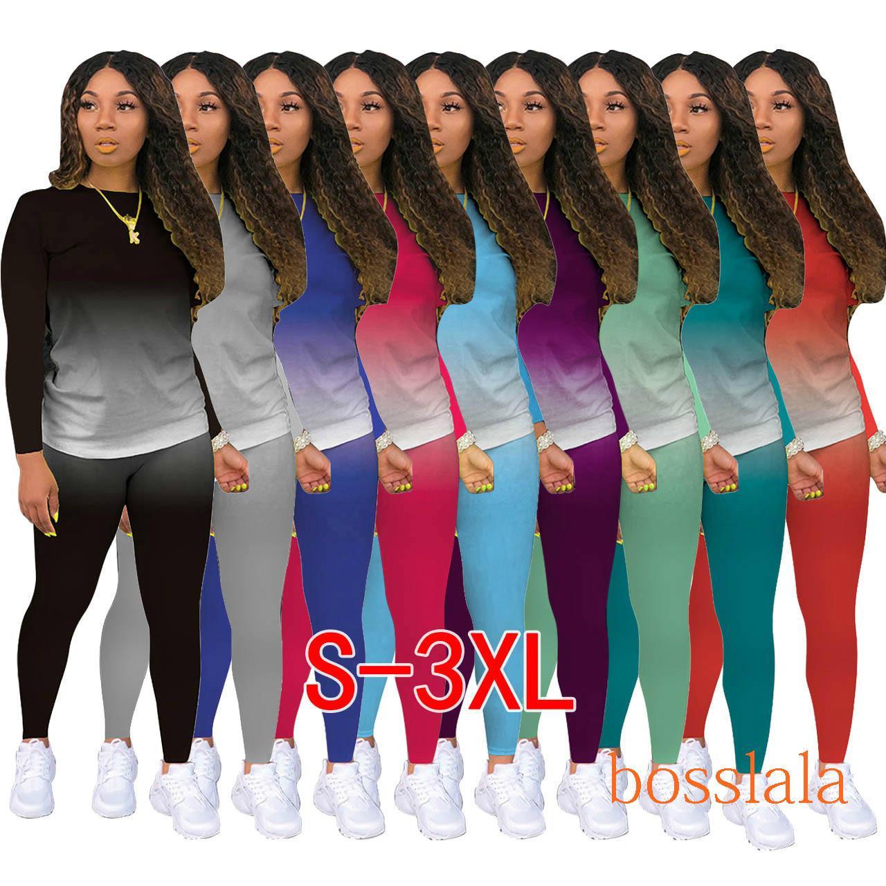 2020 Mulheres Tracksuits Dois Peças Definir Outfits Roupas Gradient Cor Jogging Terno Senhoras Nova Moda Casual Sportswear DHL 9 Cores