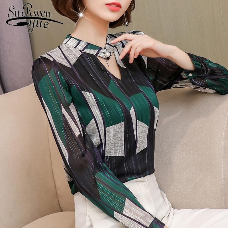 Moda stampa chiffon camicetta camicia da donna manica lunga plus size donne Tops Stripe OL Blouse abbigliamento donna BlusAS 0092 30 201201