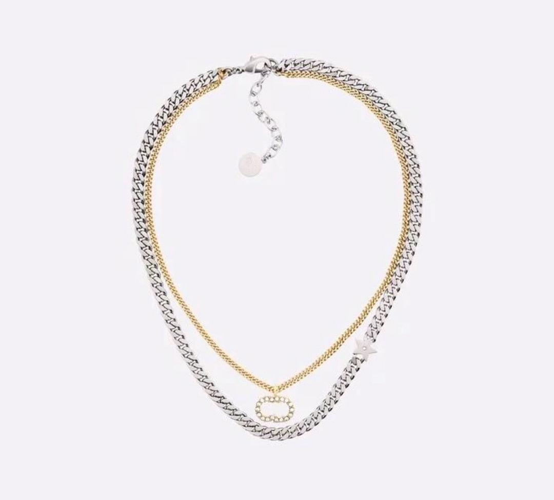 Fashion stainless Alphabet double-layer chain necklace suitable for men and women holiday party lovers gifts hip-hop jewelry with box