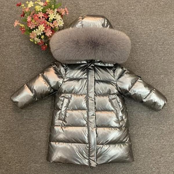 Muchacha de los niños niño de invierno verdadero de la piel engrosada 90 chaquetas abajo chaqueta larga de la capa abrigo 2-12Y ropa de los niños del bebé -30 ropa exterior 0930