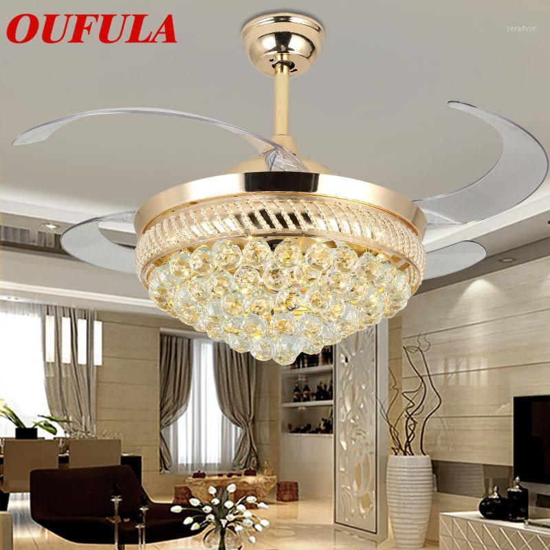 Ventilatori elettrici DLMH Ventilatore a soffitto luci moderna cristallo con telecomando lama invisibile per la stanza da pranzo domestica soggiorno camera1