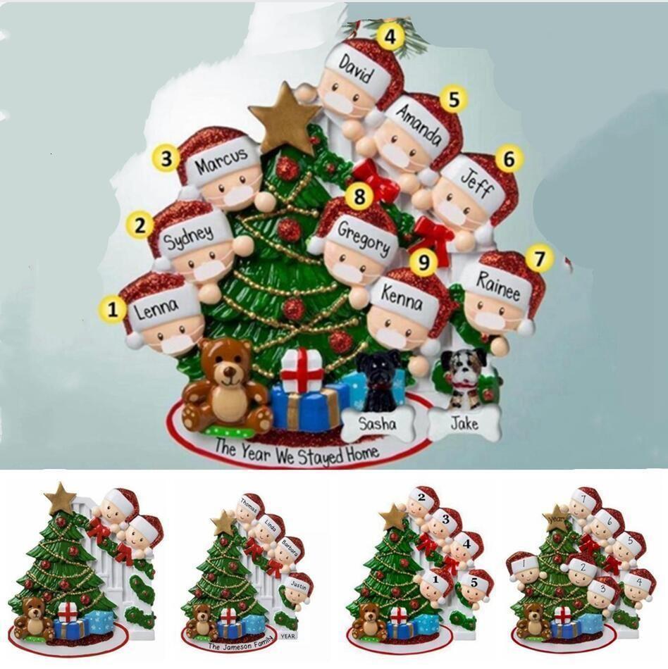 2020 Pendentif de Noël Famille de main Sanitized de Noël 2-9 Arbre Nom bricolage Blessing Hanging Décorations de Noël Cadeaux Décoration LJJP5765UFX
