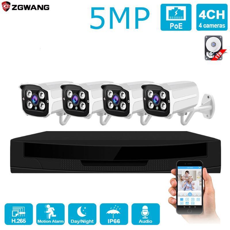 H.265 4CH 5MP POE IP Segurança CCTV Sistema de Vigilância Kit Outdoor 1080p Camera Waterproof P2P Início HDD ONVIF Audio Video NVR