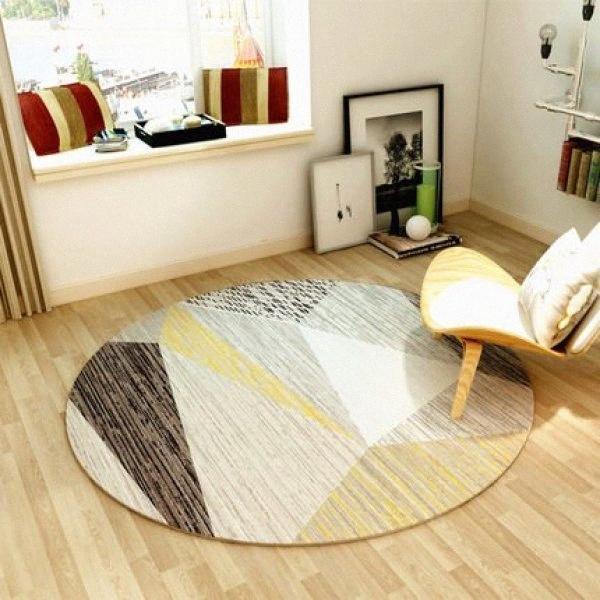 Round nordique géométrique Tapis moderne Chambre Salon Cchair Antiderapant décoratif Tapis de sol LCaS #