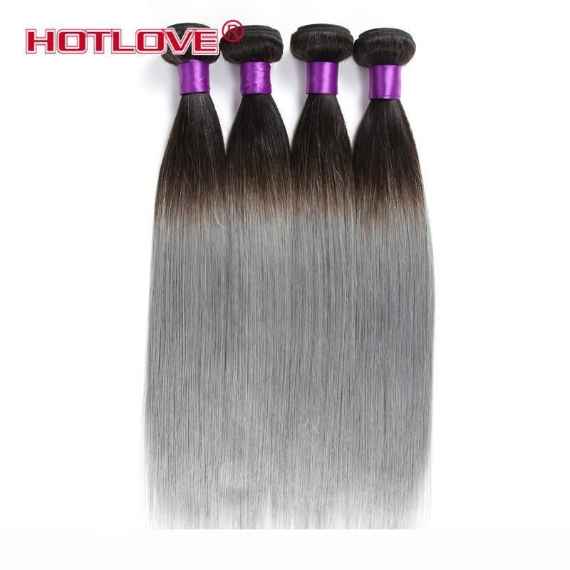 HOTLOVE superiore 3 Bundle grigi brasiliana Ombre di estensioni dei capelli di due toni di colore 1b Grigio Ombre brasiliana diritta umani di Remy fascio di capelli