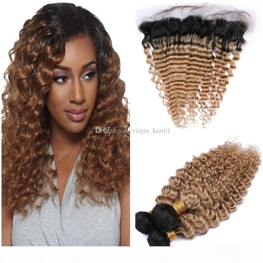 Bal Sarışın Ombre Derin Dalga Saç Demetleri Frontal Kapatma Ile İki Ton 1B 27 Açık Kahverengi Derin Kıvırcık Virgin Perulu İnsan Saç