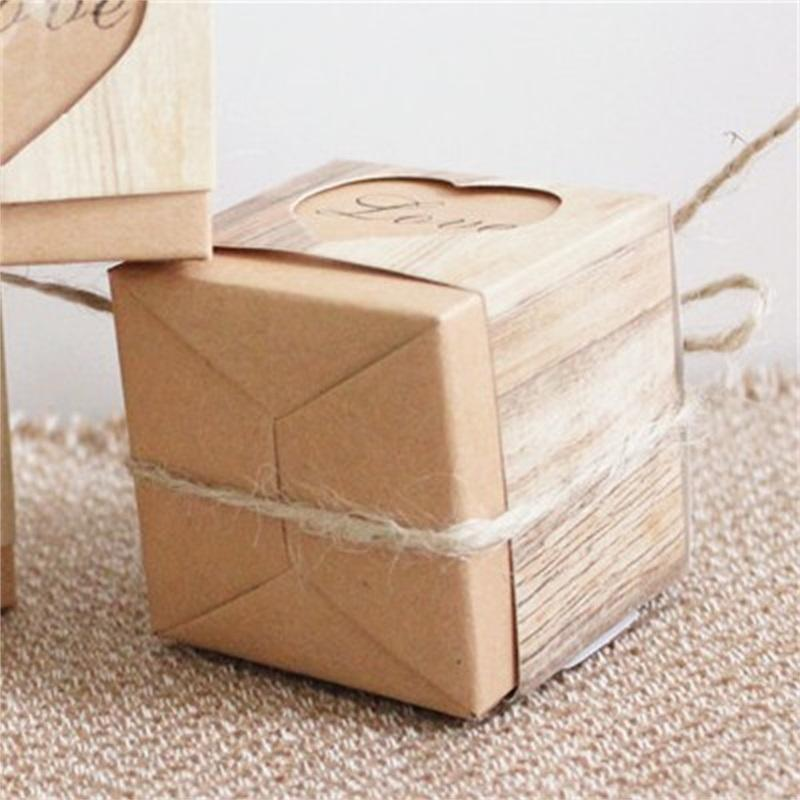 2020 Fashion Gifts Boxes Kraft Paper Packing Candies Cases Love Heart Square Antique Organizer Wedding Celebration Hot Sale 0 18kt F2