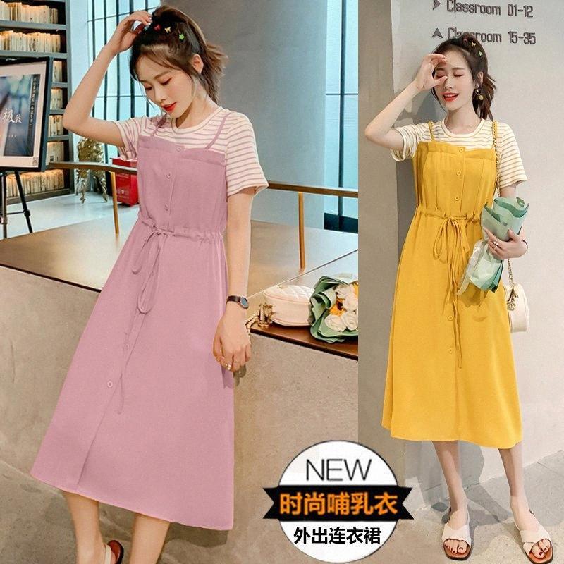 932 # Vêtements de maternité d'été en coton à manches courtes à rayures infirmière en vrac robe élégante pour les femmes enceintes maman robe 8nzy #