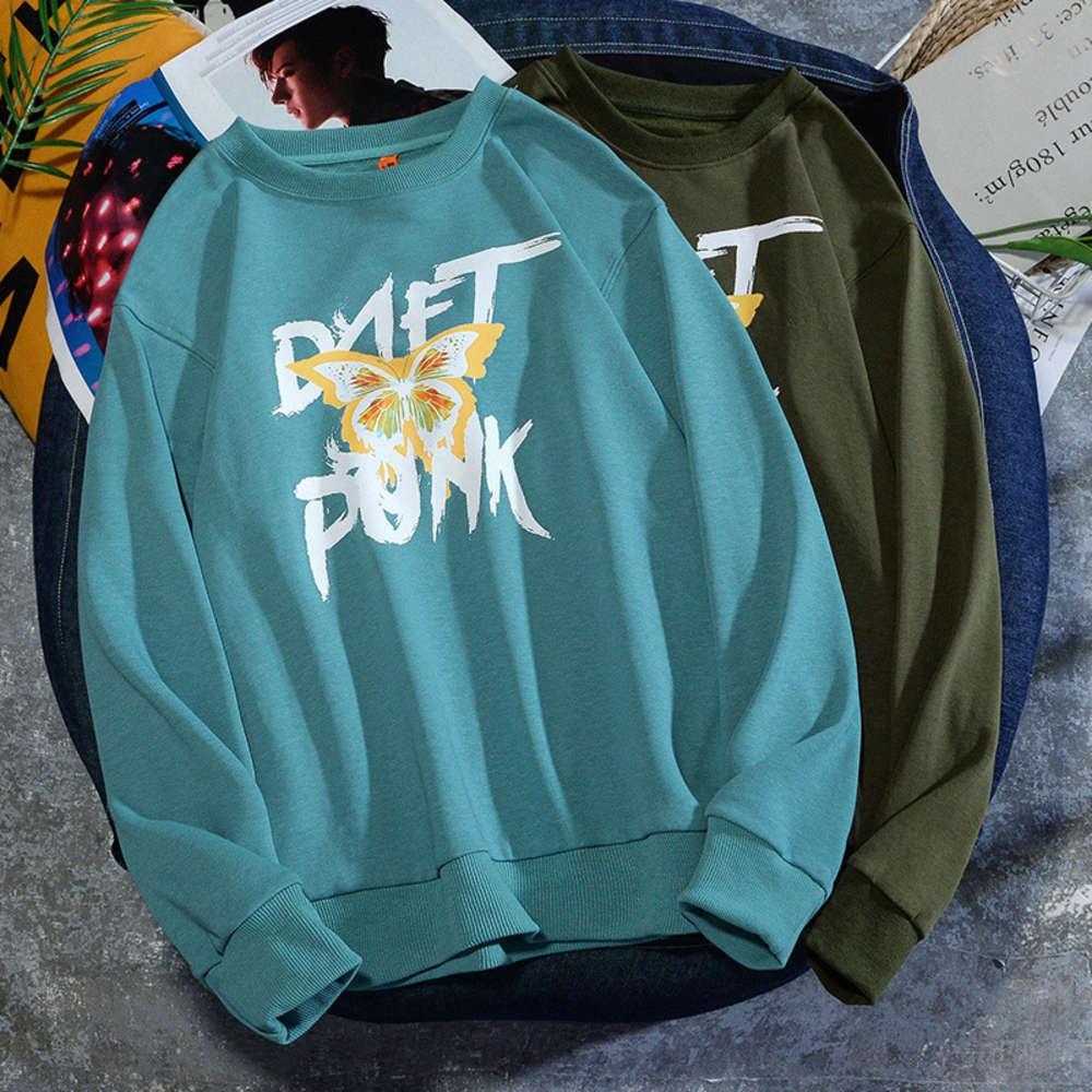2021 Весна и осень Новая мода бренда абстрактный творческий буква бабочка печать свободно мужская круглая шея свитер студент