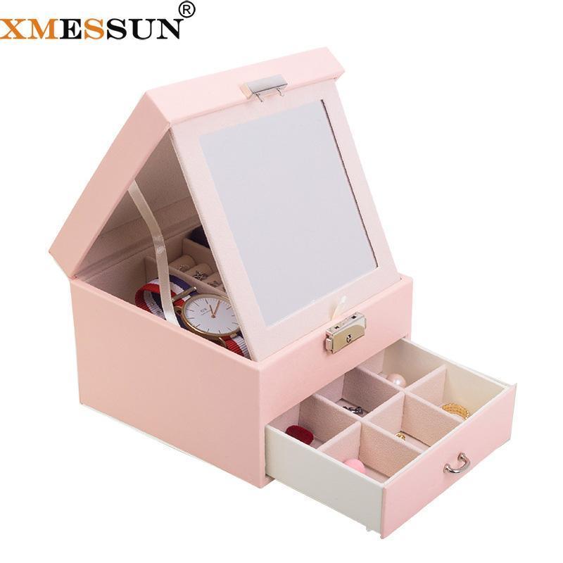 Xmessun кожаная ювелирная коробка мода большой емкости ювелирные изделия коробка для хранения женщин поднос серьги косметическая помада хранения