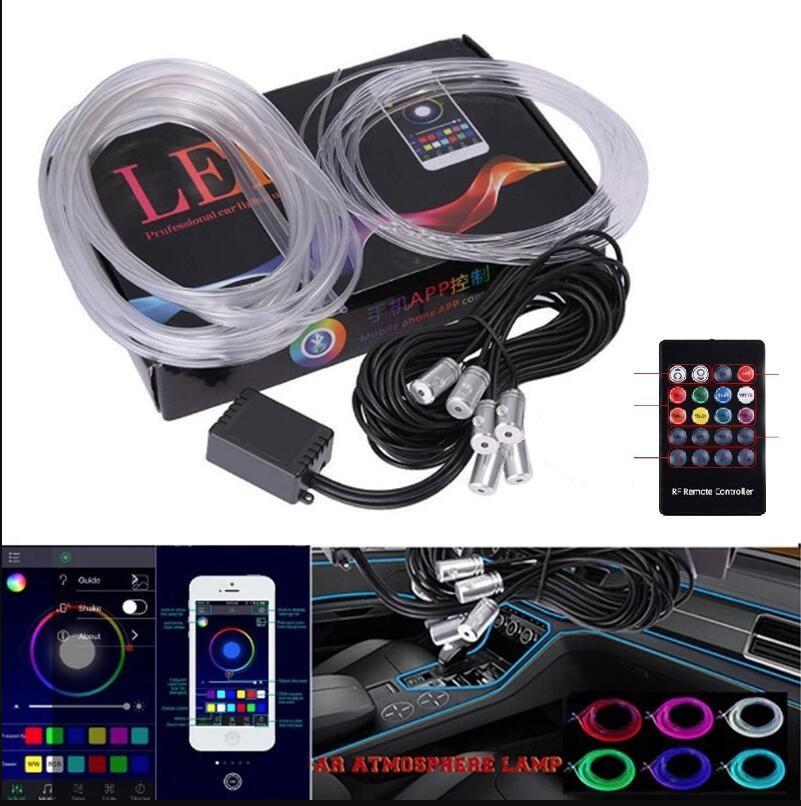 6 in1 Atmosphäre Licht 8M RGB Auto LWL-Lampen Fernbedienung Auto Innenbeleuchtung Umgebungslicht für Mercedes für Audi für BMW