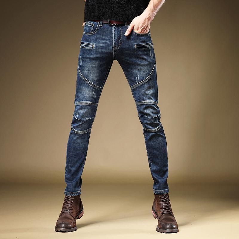 Motocicleta de los hombres de los pantalones vaqueros de la manera derecho Pantalones Slim Fit Denim Pantalones Streetwear estiramiento azul Moto