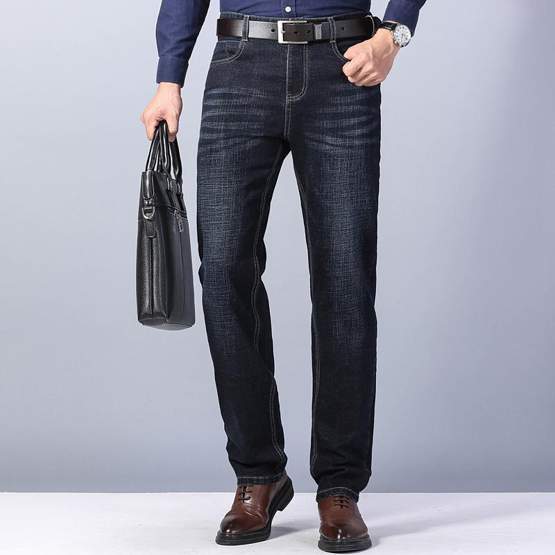 Зимние мужские джинсы 2020 Новый теплый Slim Fit Бизнес Мода сгущает Denim брюки черный серый