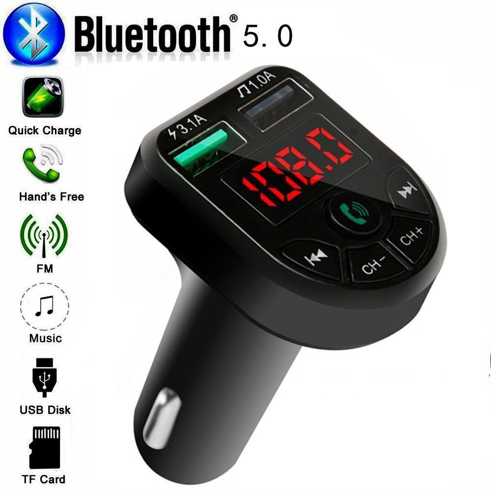 12-24V 일반 차량에 대한 포트를 충전 BTE5 자동차 블루투스 MP3 플레이어 FM 송신기 자동차 FM 변조기 듀얼 USB