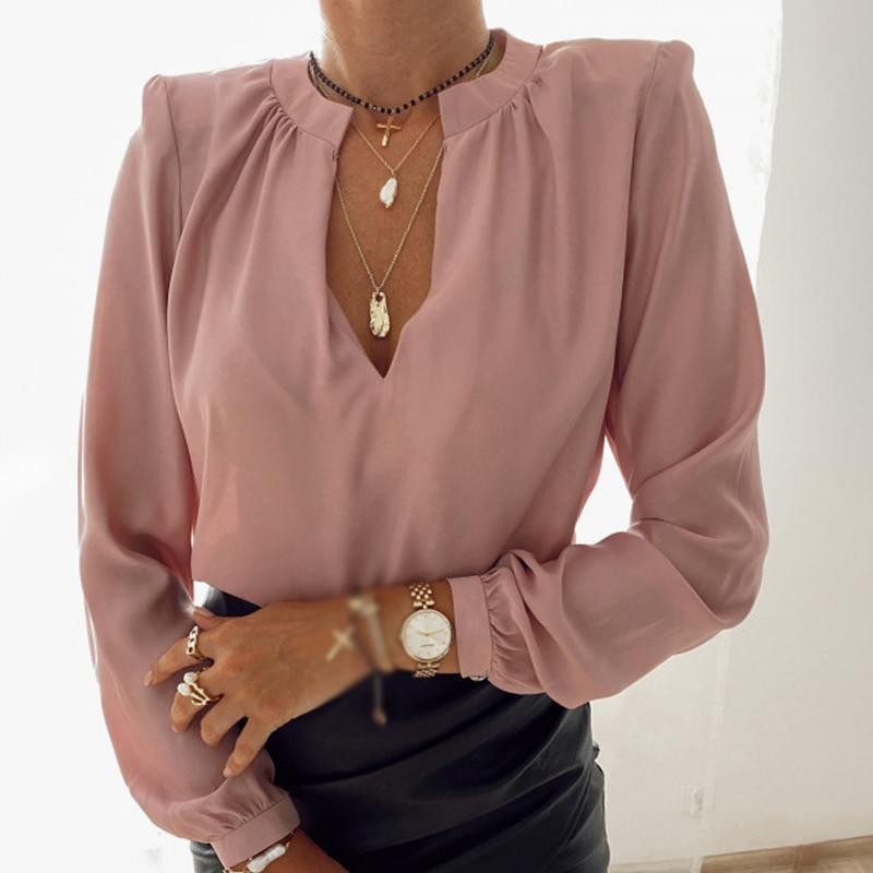 가을 블랙 핑크 V 넥 여성 블라우스 풀오버 솔리드 긴 슬리브 Womens 블라우스 2020 새로운 패션 캐주얼 사무실 숙녀 탑스