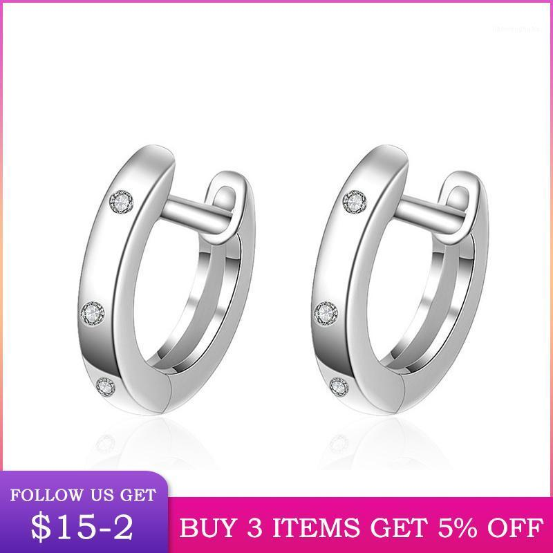 Hoop & Huggie LByzHan Pierced Round Earrings Fashion 100% Real 925 Sterling Silver Earring Rose Gold Color CME3781