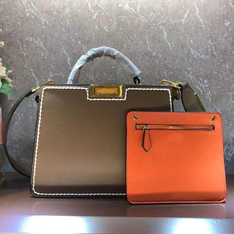 Fashion Letter Handbag Purse Large Capacity Package Shopping Bags Calfskin Leather Women Tote Bag Detachable Strap Shoulder Crossbody Bag