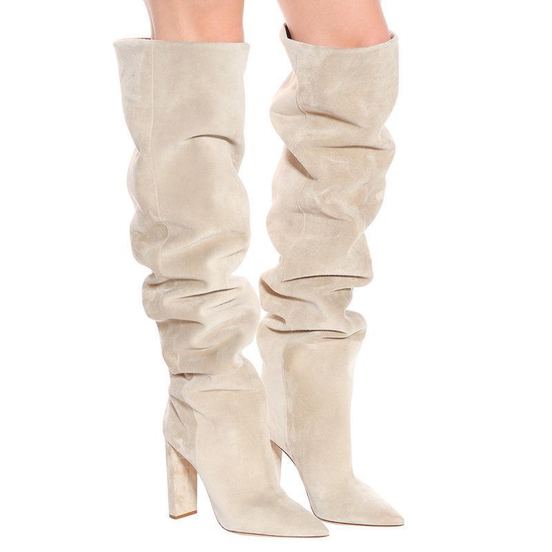 Las mujeres gamuza sintética sobre la rodilla de alta Slouchy botas puntiagudas Toe Zapatos de tacón Chunky Slouch botas largas invierno de las señoras de tacón
