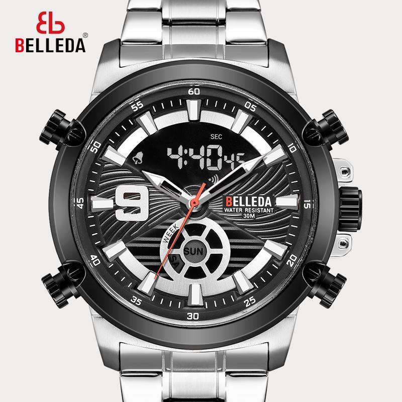 أسود الفولاذ الكوارتز ساعة مع شاشة مرئية مزدوجة الرياضة للرجال العلامة التجارية الأزياء الفاخرة