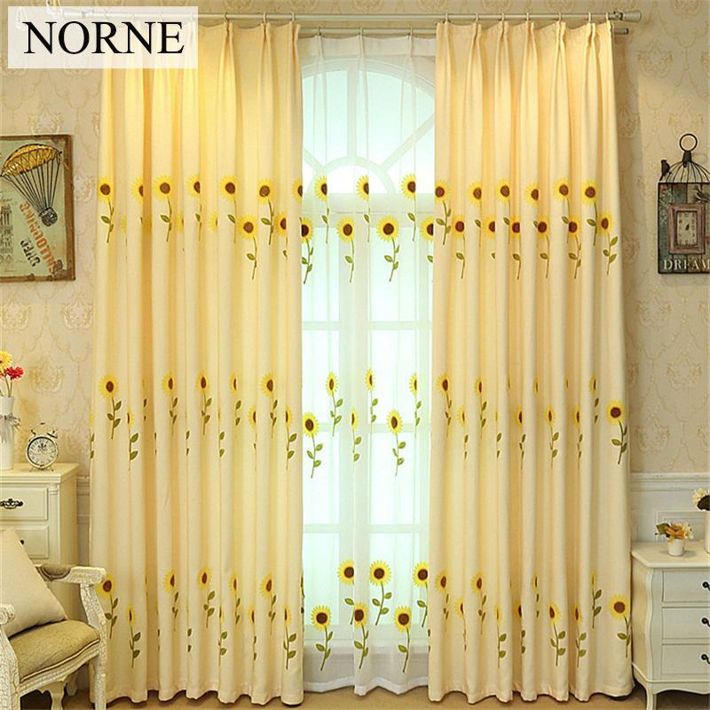 Norne Modern Işlemeli Ayçiçeği Pencere Tedavi Perdesi Yatak Odası Oturma Odası için Perdeler Mutfak Kapı Panjur Sırf Perdeleri
