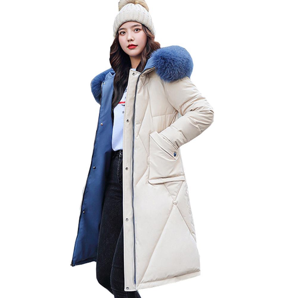 Long Parka Donne Down Parka Inverno Nuovo Giacca da donna di grandi dimensioni coreane Donne Donne Parka Big Fur 8603 201126