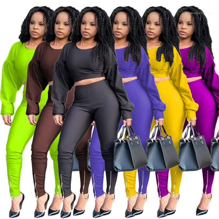Конструктор Puff рукавом футболки и тонкий карандаш брюки осени вскользь женщин 2pcs Outfit Одежда сплошной цвет двух частей штаны женщин