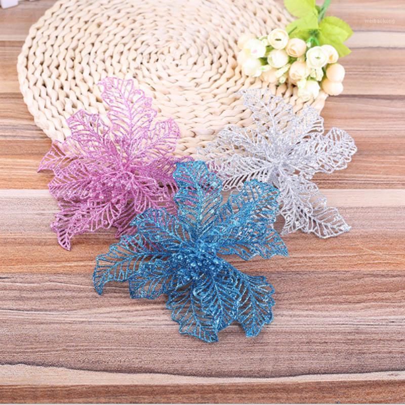 Рождественские украшения 5шт блеск цветок рождественские дерево украшать листьев листьев золота DIY источник материал для отдыха дома садовый декор1