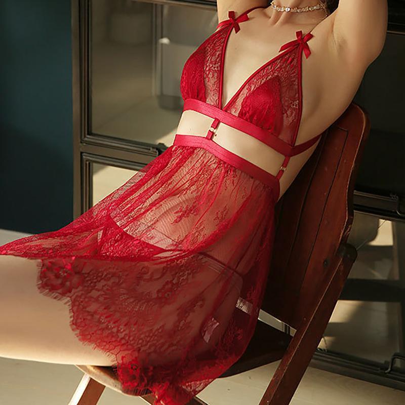 Kadın Nightie V Yaka Kolsuz Seksi Gece Elbise Dantel See See Sexy Pijama Kadın Gecelik Seks Backless Uyku Kırmızı Tops