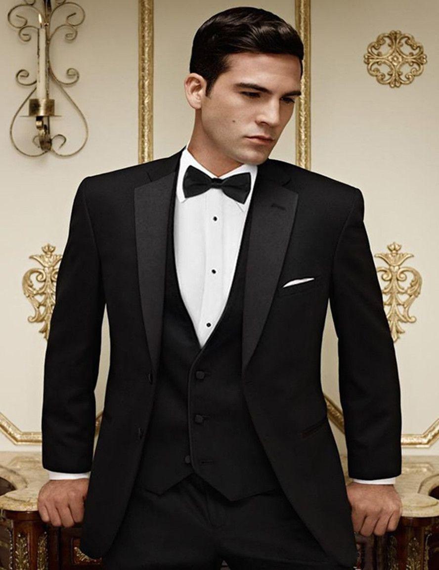Abiti da sposa nuovi arrivi Due pulsanti nero smoking dello sposo del risvolto della tacca Best Man Groomsman degli uomini sposo (Jacket + Pants + vest) 661