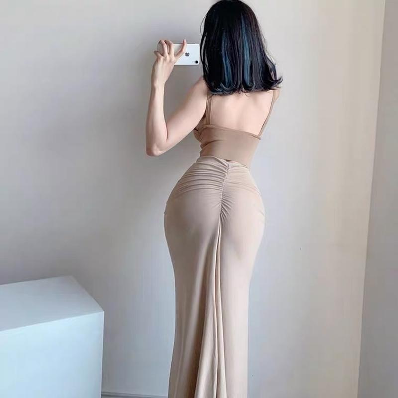 Bolsa de cintura alta cadera falda media longitud femenina con volante sexy falda delgada de la calle de alta calle Kardashian Falda larga Ins J0118