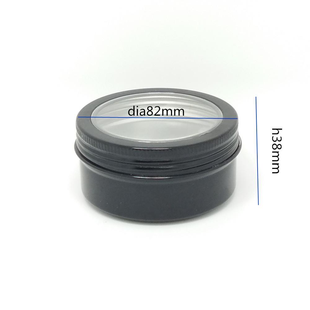 100ps Пустого, черный 150 г Алюминиевый горшок Банка, Косметические контейнеры, с крышками, алюминиевой банкой с окном, пустым кремом многоразовых