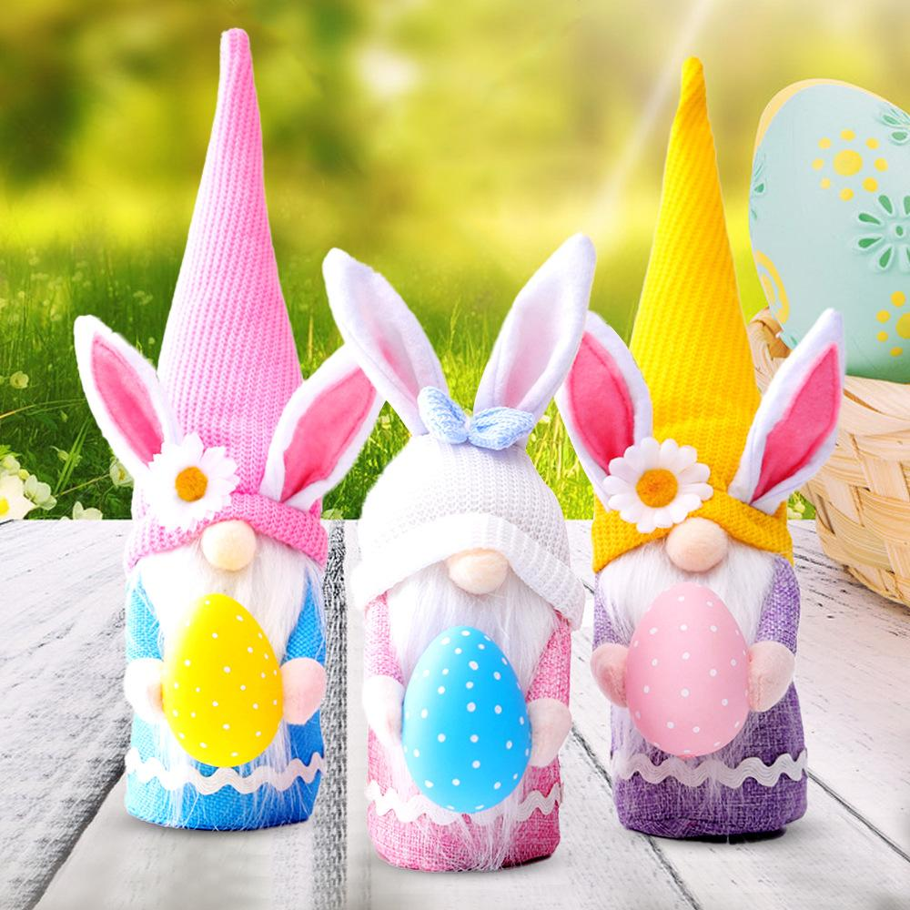 Easter Faceless Doll Color Long Hat Bunny Elf Valentines Day Dwarf Doll Window Decoration Home Decor Supplies w-00653