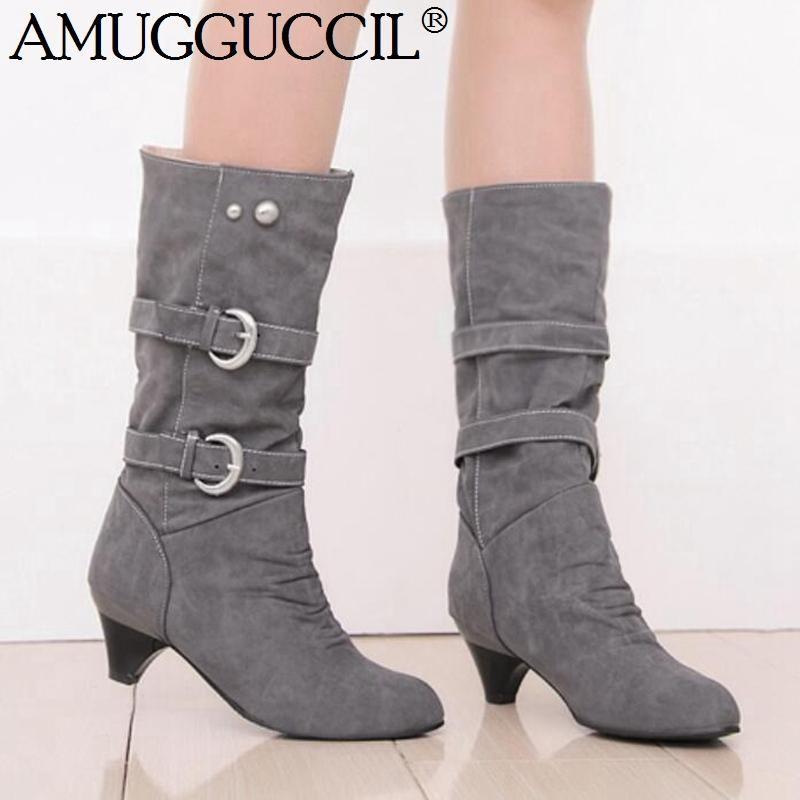 2020 nuovo più grande formato 34-43 Nero Beige Grigio Giallo fibbia moda tacco medio polpaccio femminile Lady Autunno Inverno Stivali Donna X1847