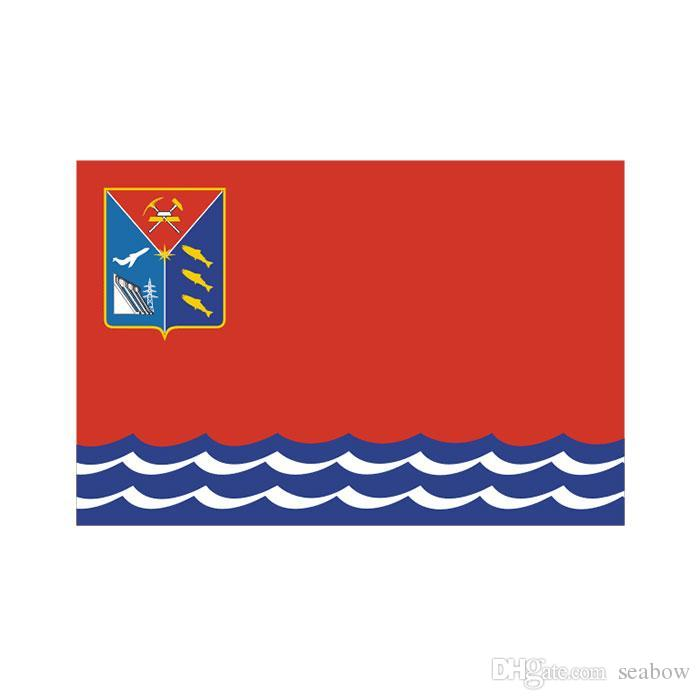 Magadan Oblast Flagge 3x5 FT Doppel Stitching Banner 90x150cm Partei-Geschenk 100D Polyester Digitaldruck-Qualität!
