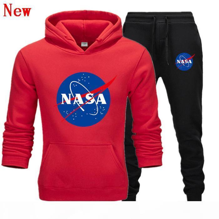Fashion Designer NASA Tracksuit Primavera Autunno Casual Unisex Brand Brand Sportswear Mens Track Abiti Cappuccio di alta qualità Abbigliamento da uomo Abbigliamento Y15