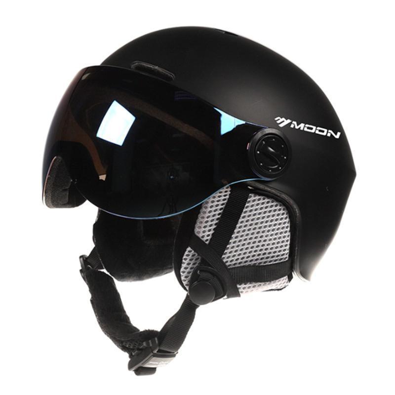Snowboard casco con gafas de peso ligero a prueba de golpes Esquí de seguridad del equipo de esquí Cascos para Jóvenes Hombres Mujeres Negro